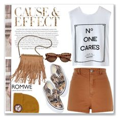 """Romwe - No one cares shirt"" by cssnead ❤ liked on Polyvore featuring beauty, River Island, Envi, Patchington and Vans"