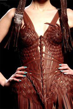 leather strips basket weave // Jean Paul Gaultier