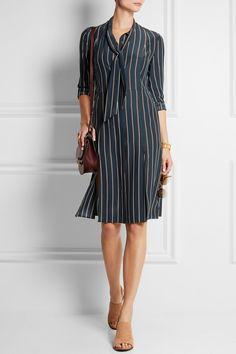 Frame Denim|Le Shirt striped washed silk-charmeuse dressgas a preppy feel.