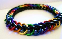 Black Rainbow Stretchy Chainmaille Bracelet by MelonLove on Etsy, $12.00