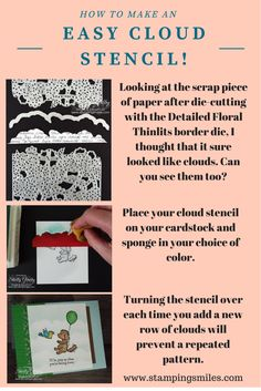 Making your own cloud stencil is so easy! Just save your scraps from the border die from the Detailed Floral Thinlits Dies!  Get my rubberstamping and cardmaking tips delivered to your inbox! Subscribe to The Stamper's Insider. Your FREE stamping source for Inspiration, Information & Ideas! http://www.thestampersinsider.com