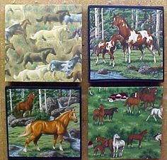 "Fabric Cork Bulletin Boards.  Four Horses Collage, 12"" x 12"", $21.70 each, or, YOUR choice of over 1000 fabrics, or YOUR fabric; four standard sizes or custom size; with or without message ribbons; and lots more at   www.PushPinsAndFabricCorkBoards.com, Category: FABRIC CORK BULLETIN BOARDS, Subcategory: Horses. Also matching DECORATIVE PUSH PINS. #fabriccorkbulletinboards #decorativepushpins #fabricwallart #interior designers"