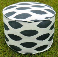 More Colors - Sqaure Pouf Floor Pillow Charcoal White Zig Zag ...