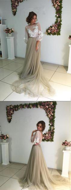 A-line Bateau Floor-length 3/4-Length Tulle Prom Dress/Evening Dress # VB092