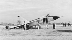 """Avro Arrow (after a """"difficult"""" landing) The - one of the most revolutionary aircraft of the early jet age. A victim of a CIA campaign? You decide - the conspiracy stories are quite interesting. Military Jets, Military Aircraft, Avro Arrow, All About Canada, Experimental Aircraft, Aircraft Design, Jet Plane, Aviation Art, Vintage Design"""