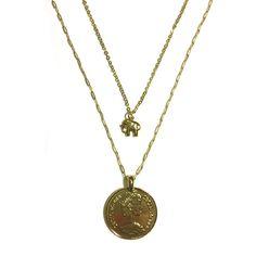 € 27,50 Dubbele Ketting Munt goud en olifantje Layered necklaces