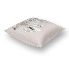 """Plumes de Brazil Hermes pillow with hand embroidered silk threads and crystal beads 64% silk and 36% cotton Measures 16.9"""" x 16.9"""""""