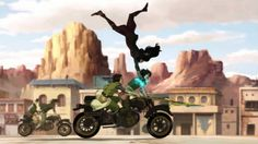 I love this… maybe even more because it's totally unnecessary. Asami's basically an Olympic level high jump talent, as we've seen when she does, say, a flip over a dude on a fucking motorcycle, with the kinesthetic awareness to shock-glove him while upside down.