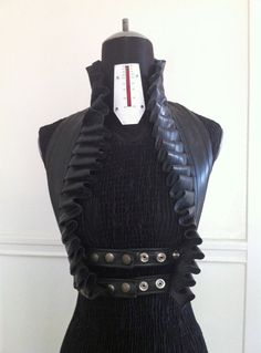 Upcycled Bicycle Inner Tube Ruffle Vest Strap Halter Top Burning Man Goth Fetish Post Apocalyptic Steampunk Adjustable Harness Underbust by KrakenWhip