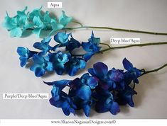 Artificial blue Galaxy orchids, blue, purple, aqua, ivory, Dendrobium orchids, Real Touch flowers, Silk orchids $18