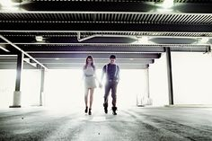 cool kids in industrial setting - using backlighting and geometric elements...