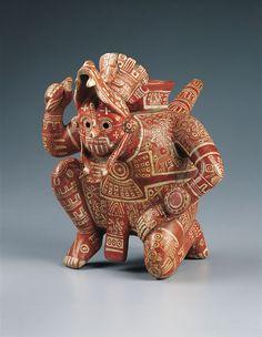 Precolumbian Rain God Vessel, c. 1100–1400  Mexico, Colima, El Chanal, Mixtec style, Middle Post Classic period (1200–1400)  Polychromed ceramic.