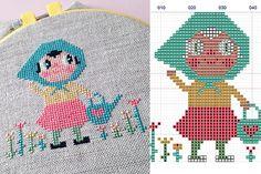 DIY Flower Girl cross stitch