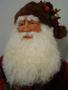 Lifesize Santa I made, hand sculpted  face and hands, with glass eyes, antique eyeglasses