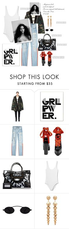"""""""Original, Bold, My Power look"""" by beautymanifesting ❤ liked on Polyvore featuring Yeezy by Kanye West, Stupell, Off-White, Balenciaga, Gap, Oscar de la Renta, girlpower and powerlook"""