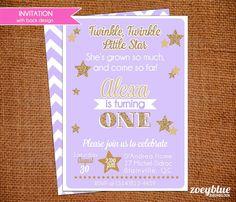 Little Star Birthday Invitation Twinkle Girl Purple Gold Glitter Invitation 1st First Birthday Lavender Chevron Hombre Pattern Digital File
