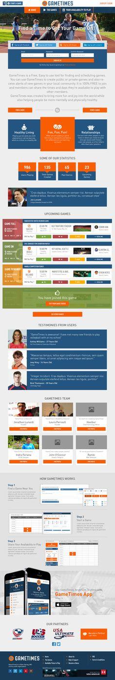 GameTimes - Landing Page