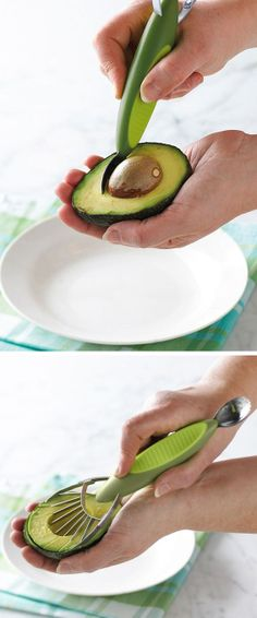 Avocado Slicer - Pit, slice and remove avocados with ease.  Get to a healthier you - lose weight with Skinny Fiber order here www.ontolosing.com
