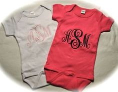 Monogrammed Baby Onesie Baby Creeper with Free Personalization 6 Colors | eBay