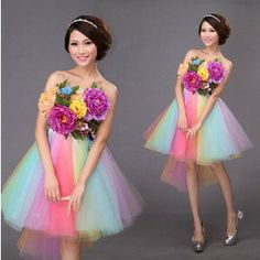 花嫁 ウェディングドレス 花柄 ミニドレス パーティードレス カラードレス 写真撮影衣装 ドレス結婚式 ドレス 披露宴ドレス 二次会 ドレス