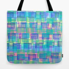 playing with brushes #Tote #Bag #shopping #blue #aqua #abstract