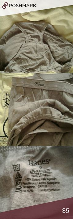 New panties, out of bag These are Hanes panties, 100% cotton. A little darker than a tan. Hanes Intimates & Sleepwear Panties