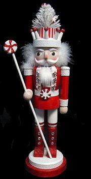 Peppermint Twist Decorative Wooden Christmas Nutcracker with Tree Crown