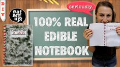 Learn how to make your own edible notebook!  This craft is 100% edible from the cover to the binding and is fully functional!!! Impress or prank your friends by eating your entire notebook or pass notes and eat the evidence! This is a super hit for the first day of school!
