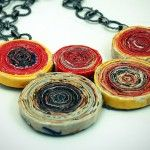 Sarah Pinyan posted DIY~ Recycled Magazine Anthro Rosette Necklace~~ to her -Papercraft- postboard via the Juxtapost bookmarklet. Paper Jewelry, Paper Beads, Jewelry Crafts, Jewelry Art, Jewlery, Unique Jewelry, Diy Recycle, Recycling, Crafts To Make