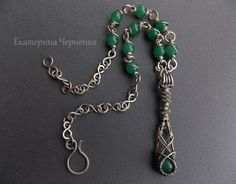 Short necklace with pendant by WireGalaxy on Etsy