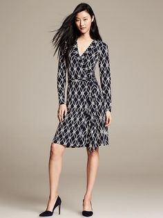 Gemma Navy Print Wrap Dress Product Image