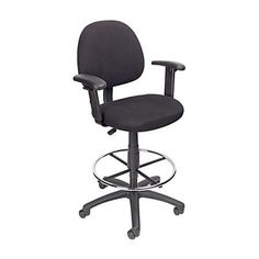 Boss Office Products Black Contemporary Drafting Chair at Lowe's. This black tweed drafting stool comes with an easily adjustable pneumatic gas lift seat height adjustment, to help you find the personalized sitting style Drafting Chair, Boss Black, Executive Chair, Chairs Online, Space Furniture, Office Furniture, Furniture Ideas, Chair Upholstery, Camden