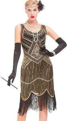 Damen 1920s Jahre Gatsby Paillette Cami-Kleid Kostüm Retro Flapper Fransen Party