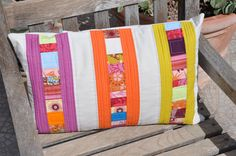 Modern Patchwork Pillow Cover Half Rainbow Number 2 by skalabara, $50.00