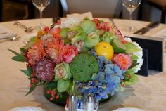 Cebolla Fine Flowers, Dallas Florist, Dallas Country Club Events, September Flowers, Modern Citrus Flowers