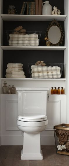 Like the shelving above the bathroom with a contrasting colour background