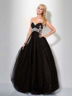 Duchesse Herzform Bodenlänge Tüll Ballrobe Schwarz mit Perlen