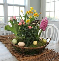 I love this! Buy several small, potted plants at grocery store, group together in basket, and cover with moss so it looks like one big, spring planting.