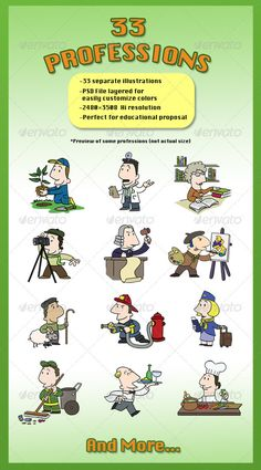33 Cartoon Illustrations of famous professions. Perfect for education, languages.. Gardener, carpenter, IT, nurse, concierge, arc