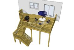 2nd story deck with stairs but going to the front might block sun room door under