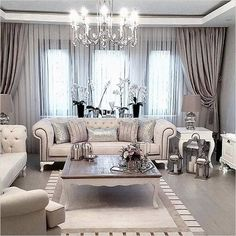 Pretty Living Room Curtain Design Ideas For Cozy Place - , . 35 Pretty Living Room Curtain Design Ideas For Cozy Place - , 35 Pretty Living Room Curtain Design Ideas For Cozy Place - , Fancy Living Rooms, Glam Living Room, Living Room Goals, New Living Room, Home And Living, Living Room Designs, Living Place, Cozy Living, Simple Living