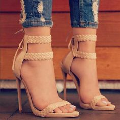 LALA IKAI Women Ankle Strap Sandals Fashion High Heels Sandal Summer Weaving Thin Heels Women Pumps Shoes Ladies From Touchy Style Outfit Accessories Ankle Strap High Heels, Black High Heels, High Heels Stilettos, Stiletto Heels, Pumps, Nude Heels, Peep Toe Shoes, Pump Shoes, Shoes Heels