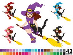 70% OFF SALE Rainbow Halloween Witch Clipart - Digital Vector Colorful Witch Clip Art