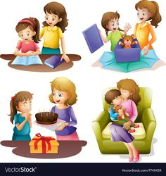 Mother and child doing different activities vector image on VectorStock Powerpoint Background Design, Hebrew School, Human Drawing, Mom Birthday, Mothers Love, Mother And Child, Cute Illustration, Cuddling, Children