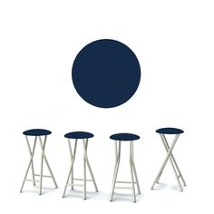 Refurbished Best of Times Set of 4 Padded Bar Stools (Solid Navy Blue), Patio Furniture (Polyester)
