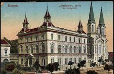 Temesvár; Józsefvárosi zárda és templom | Képcsarnok | Hungaricana Romania, Budapest, Postcards, Taj Mahal, Colorful, Landscape, City, Building, Photos