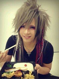 visual kei - long hair man - bangs