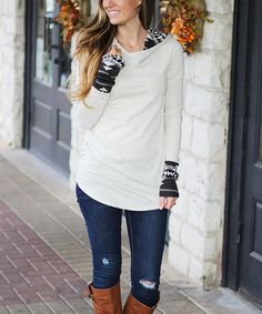 Take a look at this Oatmeal & Black Tribal Accent Hoodie on zulily today!