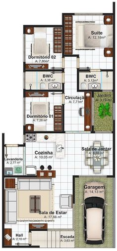 Plantas de casas com 5 metros de frente com 3 quartos for Casa moderna 90m2