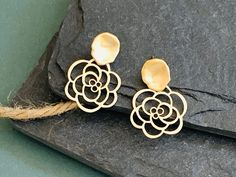 Rose Flower Statement Earrings / Leaf Stud Gold Earrings /Tropical Jewelry / unique gift for BFF / Birthday Gift for Her / Mother's Day gift